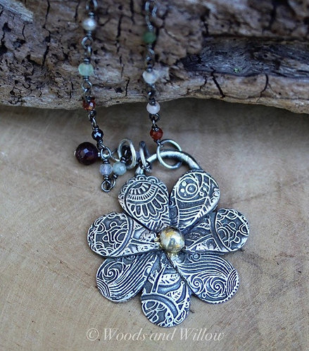 Sterling Silver Paisley Flower Necklace with Gemstone Beaded Chain
