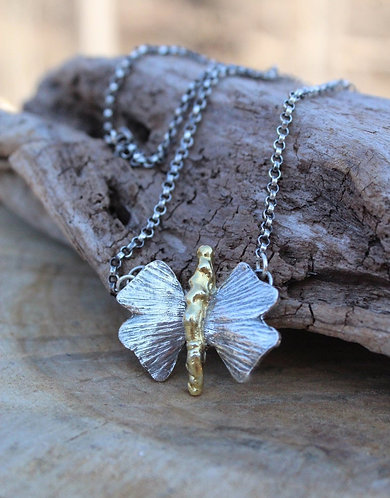 Silver and Gold Ginkgo Leaf Butterfly Necklace