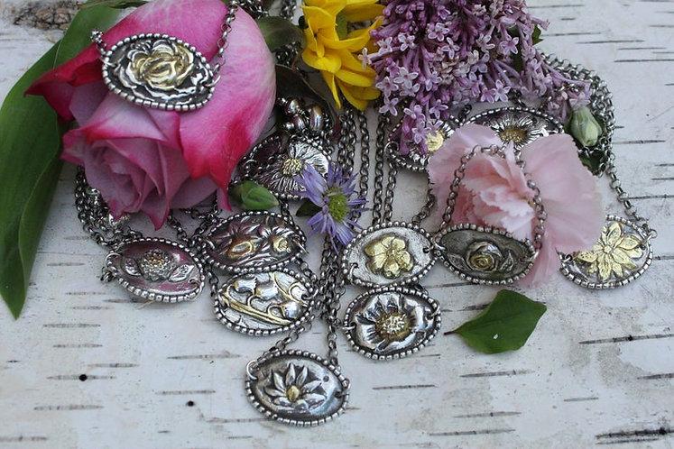 Sterling Silver and Gold Adjustable Birth Flower Bracelet