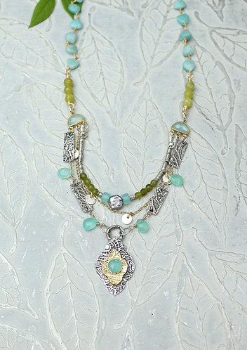 Multi Strand Aqua Chalcedony and Mandala Necklace