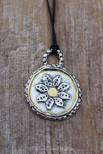 Silver and Gold Daisy Necklace on Leather Cord
