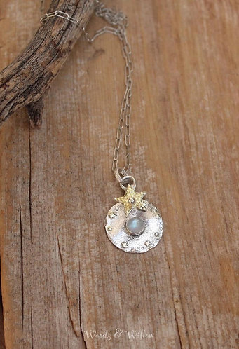Sterling Silver and Gold Celestial Necklace with Rainbow Moonstone