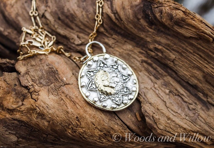 Sterling Silver and Gold Sun and Moon Necklace