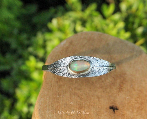 Sterling Silver Willow Leaf Cuff with Ethiopian Opal