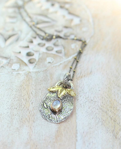Fauna Fare Silver and Gold Artisan Necklace with Rainbow Moonstone