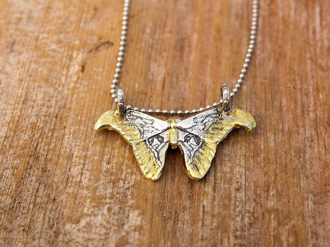 Sterling Silver and Gold Atlas Moth Necklace