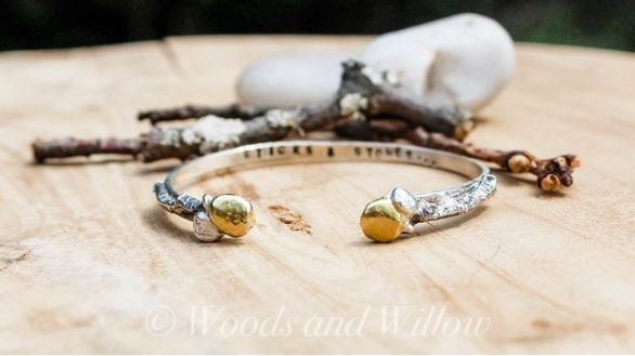 Sterling Silver and Gold Sticks and Stones Bracelet - Proceeds to Anti-Bullying