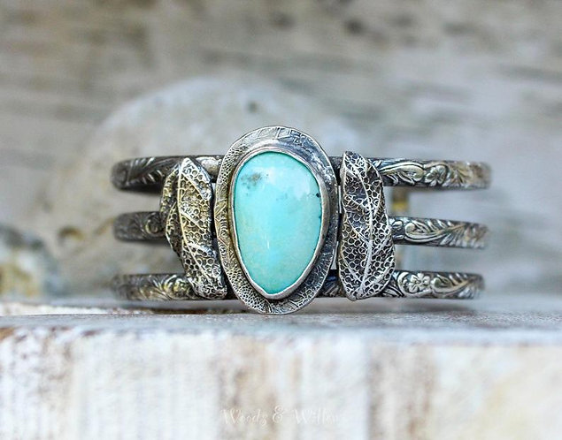 Sterling Silver Botanical Cuff with Turquoise Stone