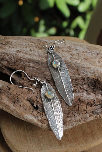Sterling Silver Weeping Willow Leaf Earrings with Ethiopian Opals