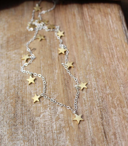 Sterling Silver and Gold Star Charm Layering Necklace