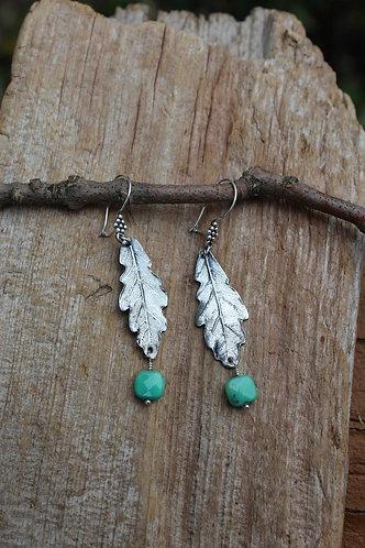 Sterling Silver Oak Leaf Earrings with Aqua Moss Opals