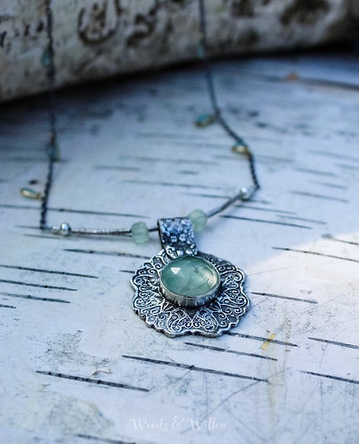 Sterling Silver Floral Necklace with Prehnite Gemstone