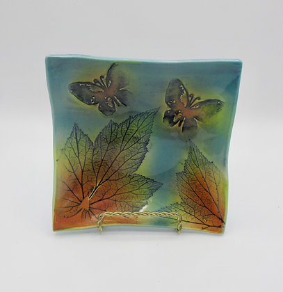 Square dish with butterfly