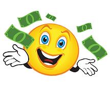 EMOJI SMILE WITH MONEY - White Square Ba