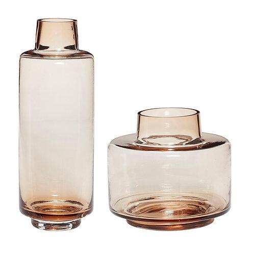 Hübsch - Vase i glas, brun - 2 stk.