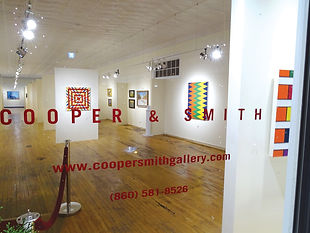 View to interior of gallery featuring artwork by Stephen Westfall.