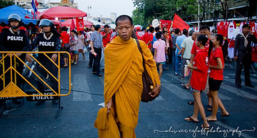 The Monk, The Police and The Protesters
