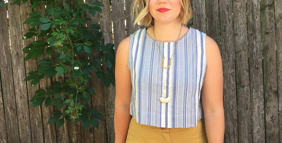 Crop Top in Chambray Stripe