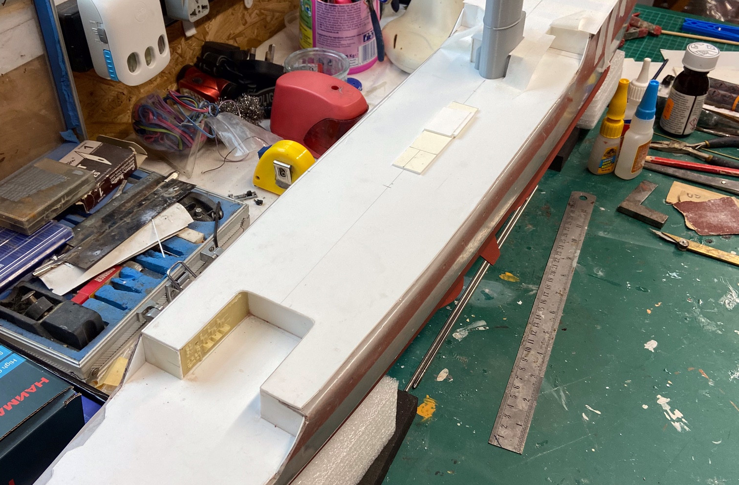 Cross Beams and decks fitted and hull ready for portholes