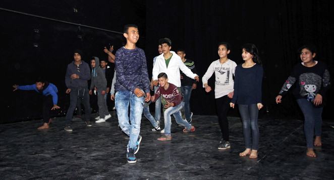 Games in the acting workshop lead by Ahmed Tobasi