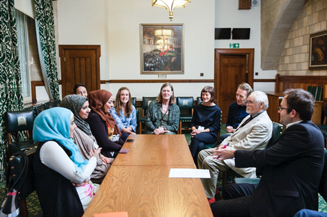 Some of the cast speaking to MPs at the House of Commons