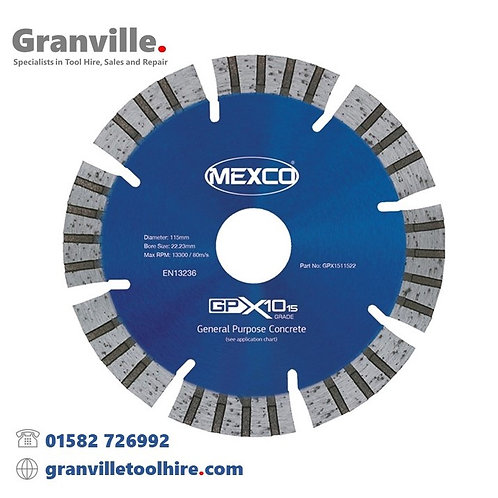 Mexco GPX10-15 General Purpose 115mm Diamond Blade