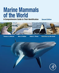 Front cover of the book Marine Mammals fo the World. The cover has an image of a several marine mammal species, including polar bear, orca, walrus, river dolphin, and a large baleen whale
