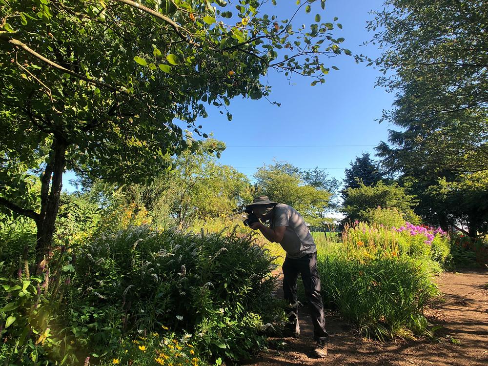 Joe Dlugo photographing bees in NatureScaping Wildlife Botanical Gardens