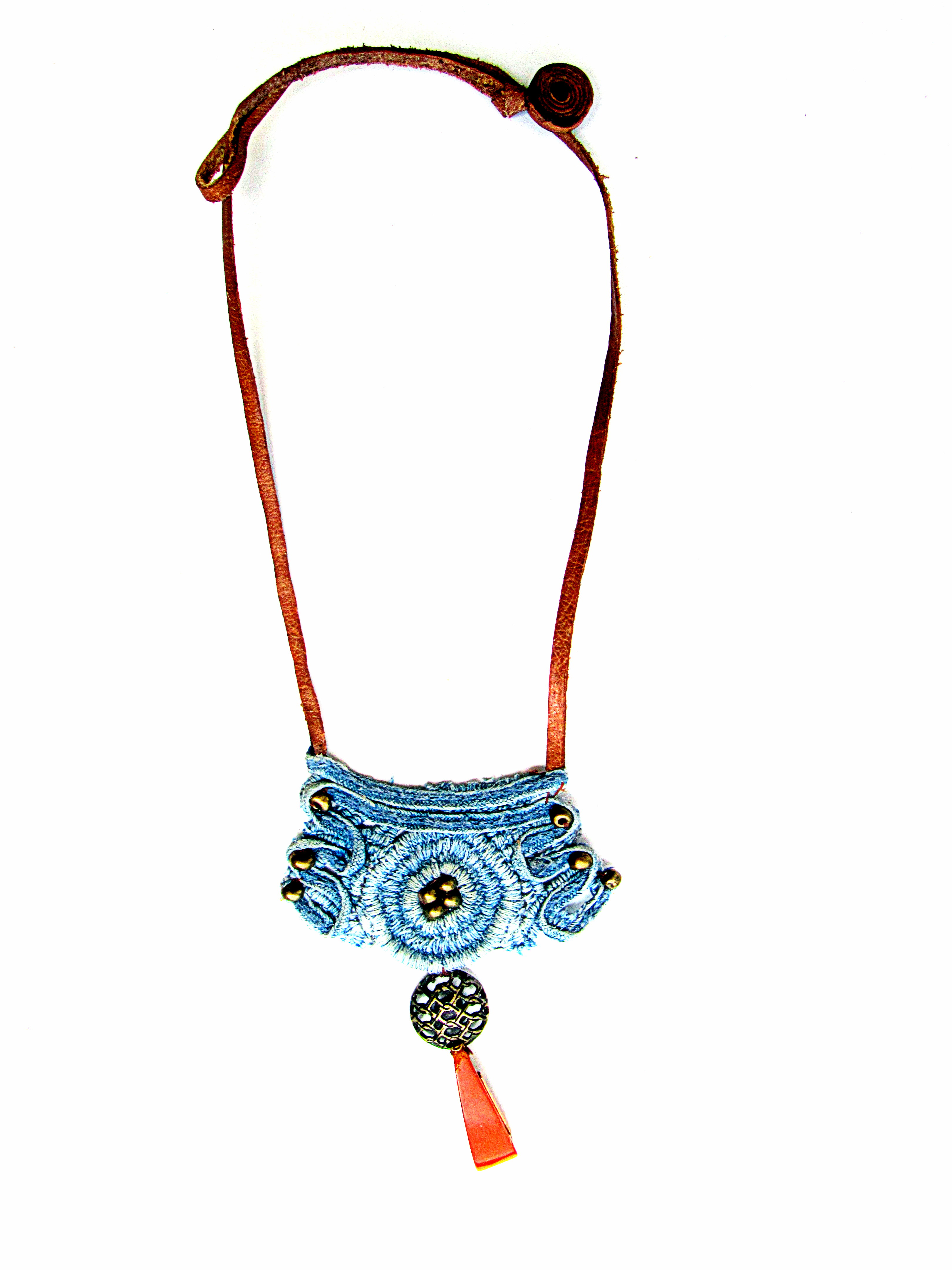 Necklace lace denim