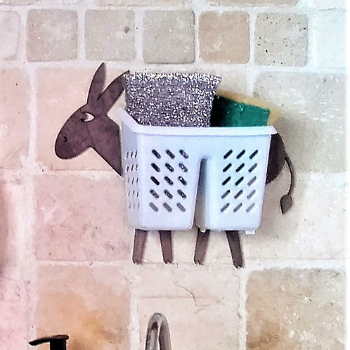 Donkey with a basket Funny Wall Organizer, Handmade Wooden