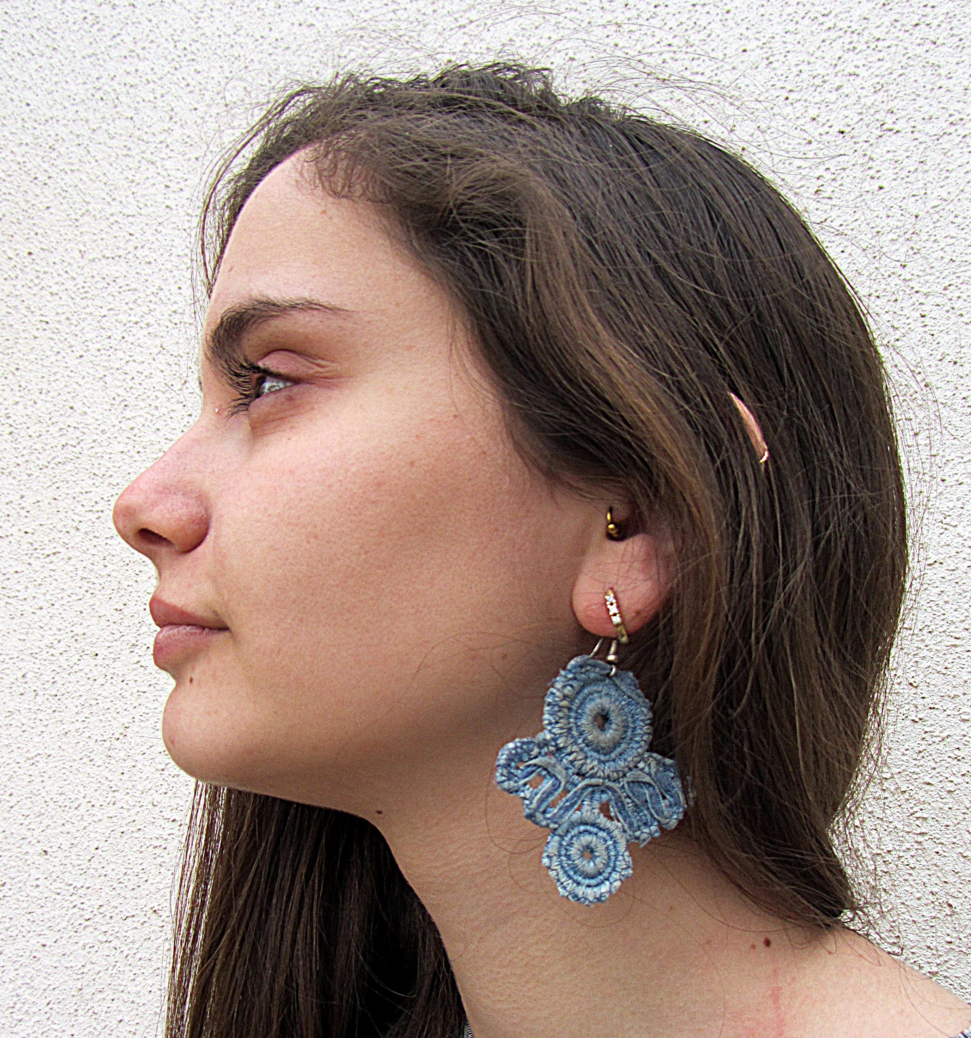 The lightest earrings lace denim wit