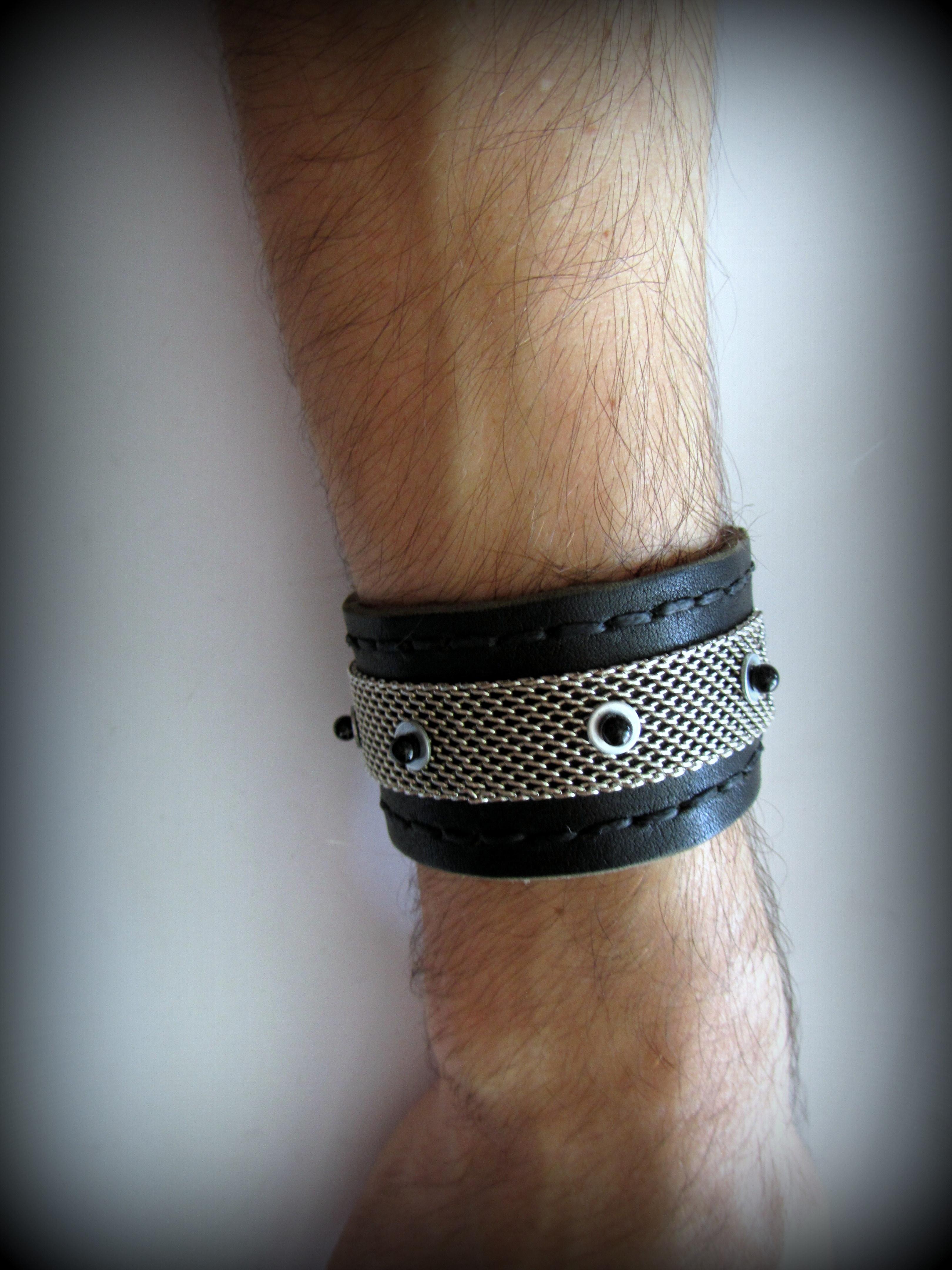 Black leather bracelet unisex