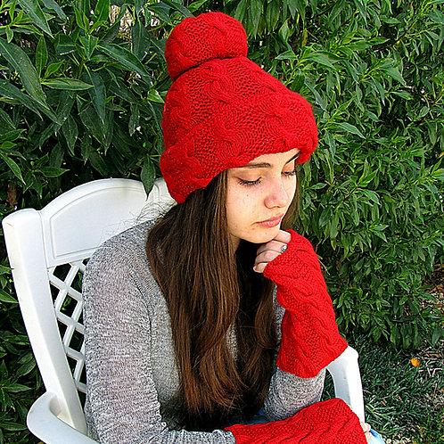 Knitted set for girl: a pom-pom cap and fingerless gloves/gaiters