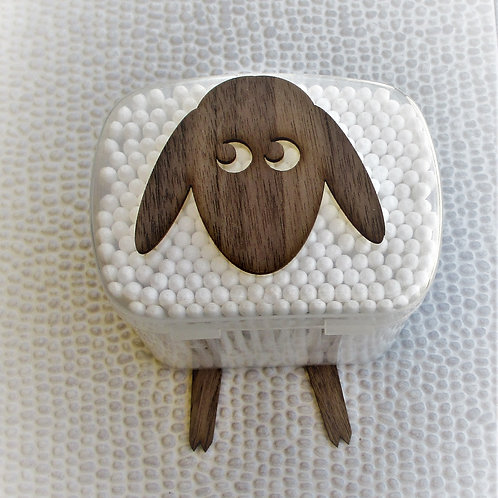 Lamb / Sheep - A wall mounted box containing cotton buds.