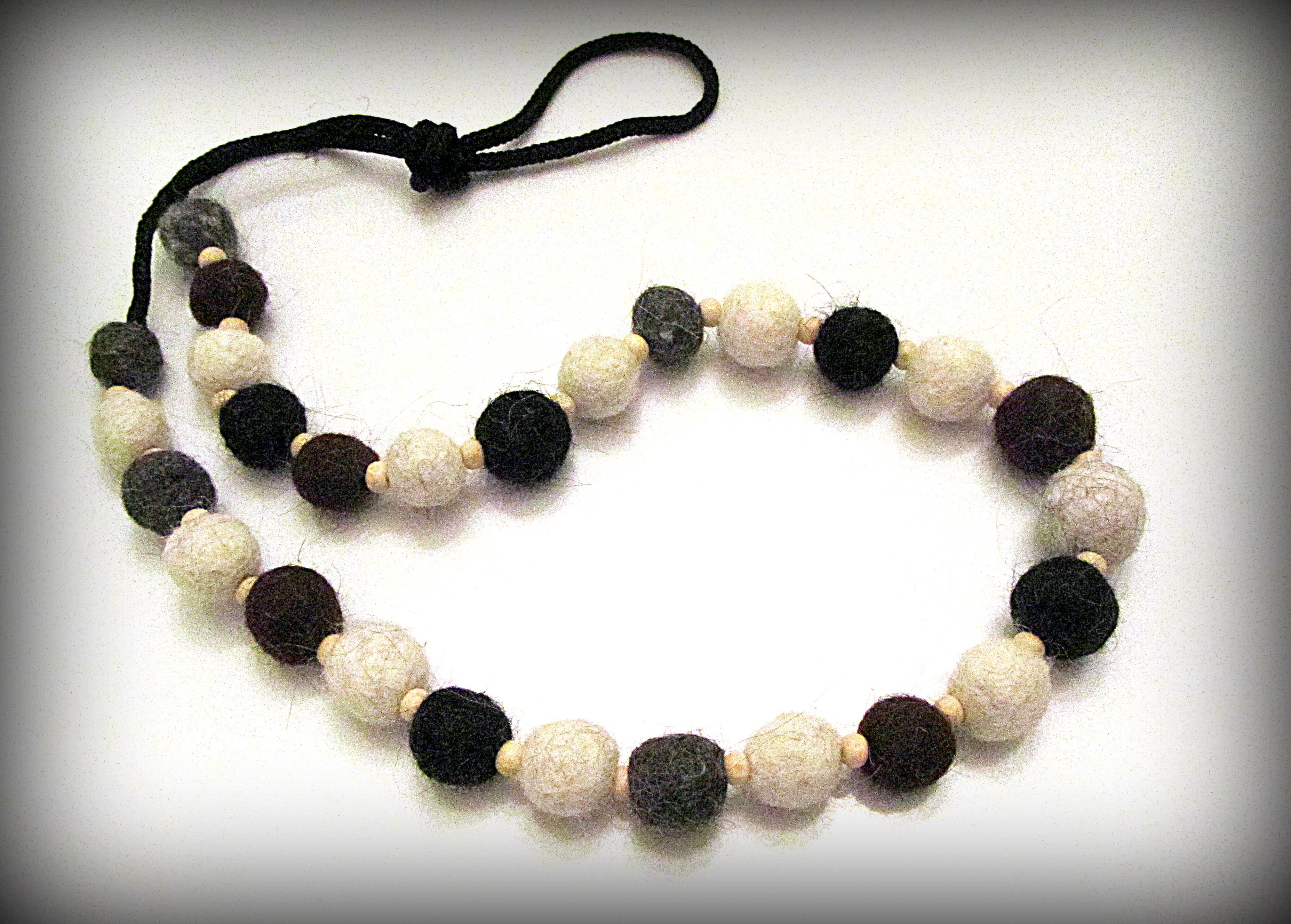 Necklace made of alpaca fiber beads