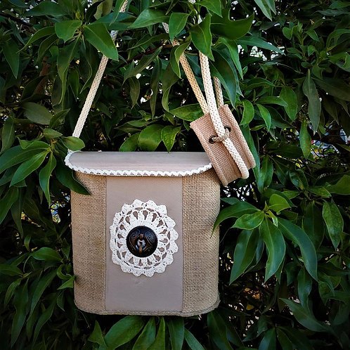 Exclusive light and hygienic box-bag, crossbody in Boho style.