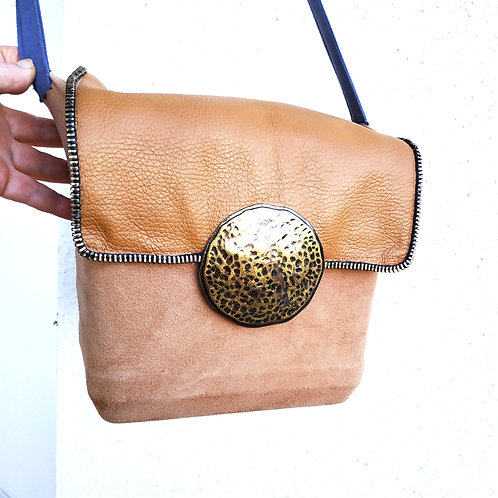 Cube-bag made of artificial suede, tapestry and leather with a long handle.