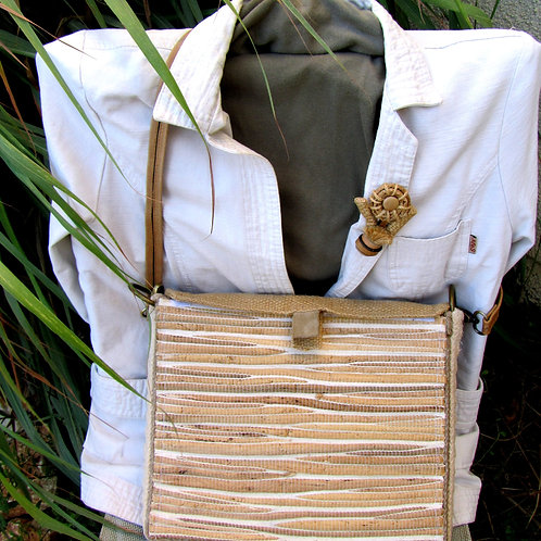 Bag Briefcase in eco-style made out of fabric with dry plants, leather and sackc