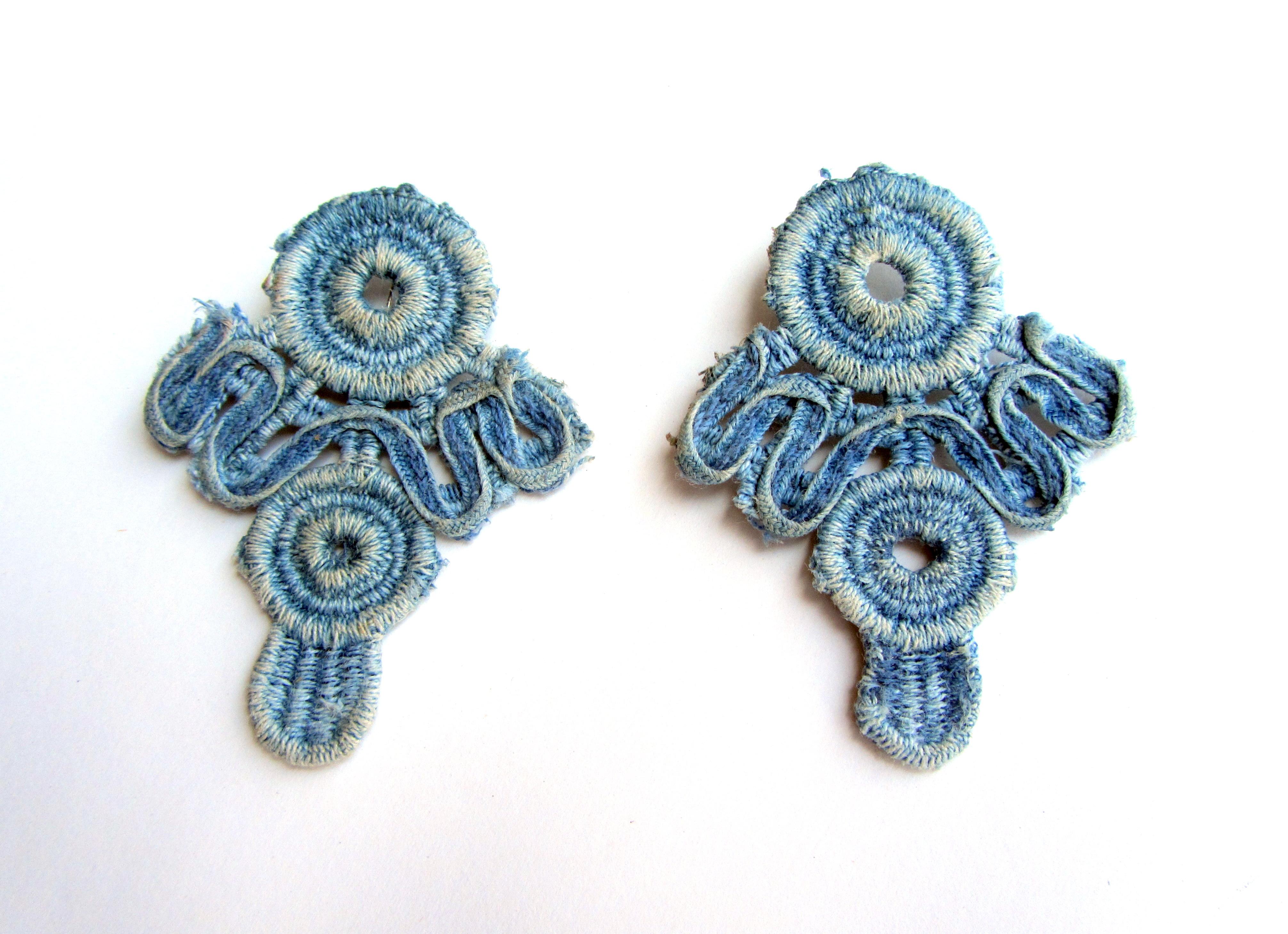 The lightest earrings lace denim