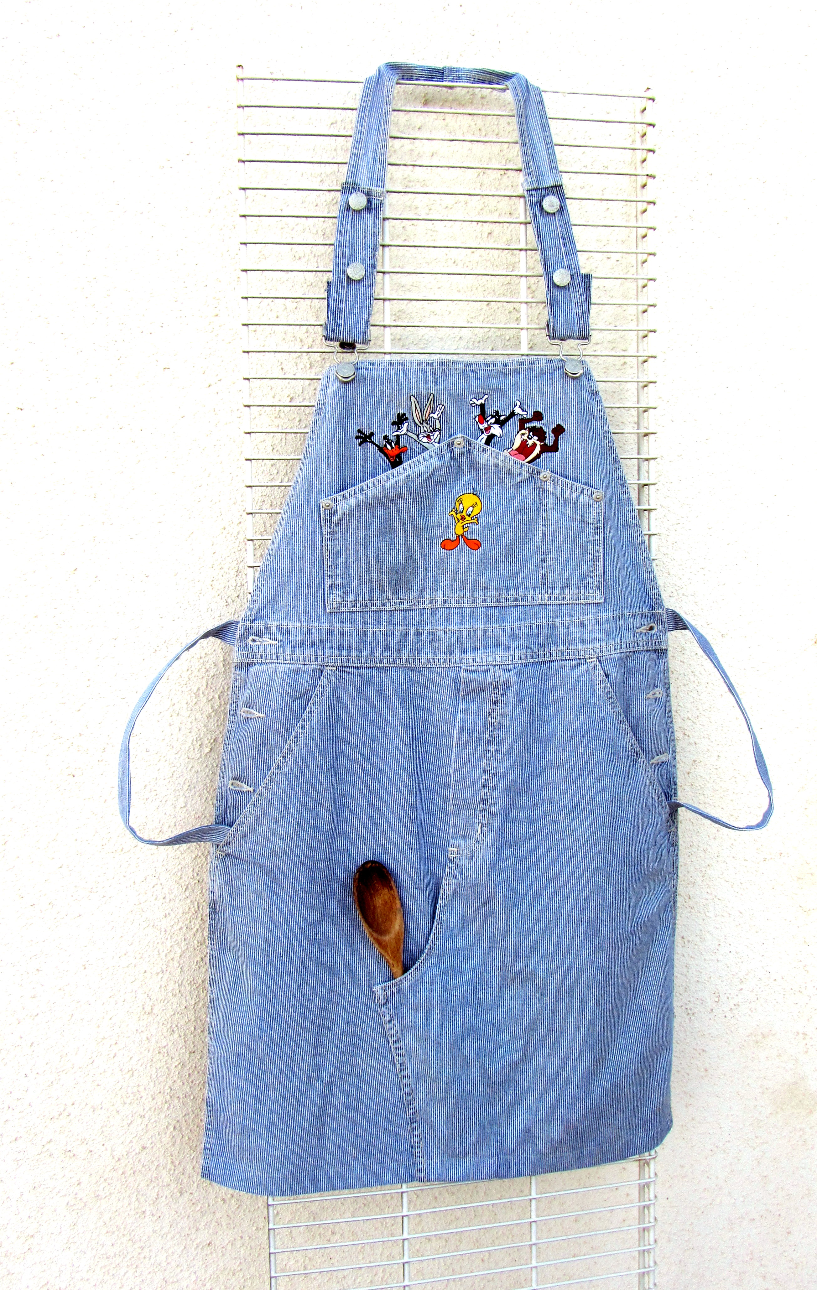 Apron from denim overalls