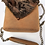 Thumbnail: Exclusive beige handmade suede box-bag with fur and a long handle.