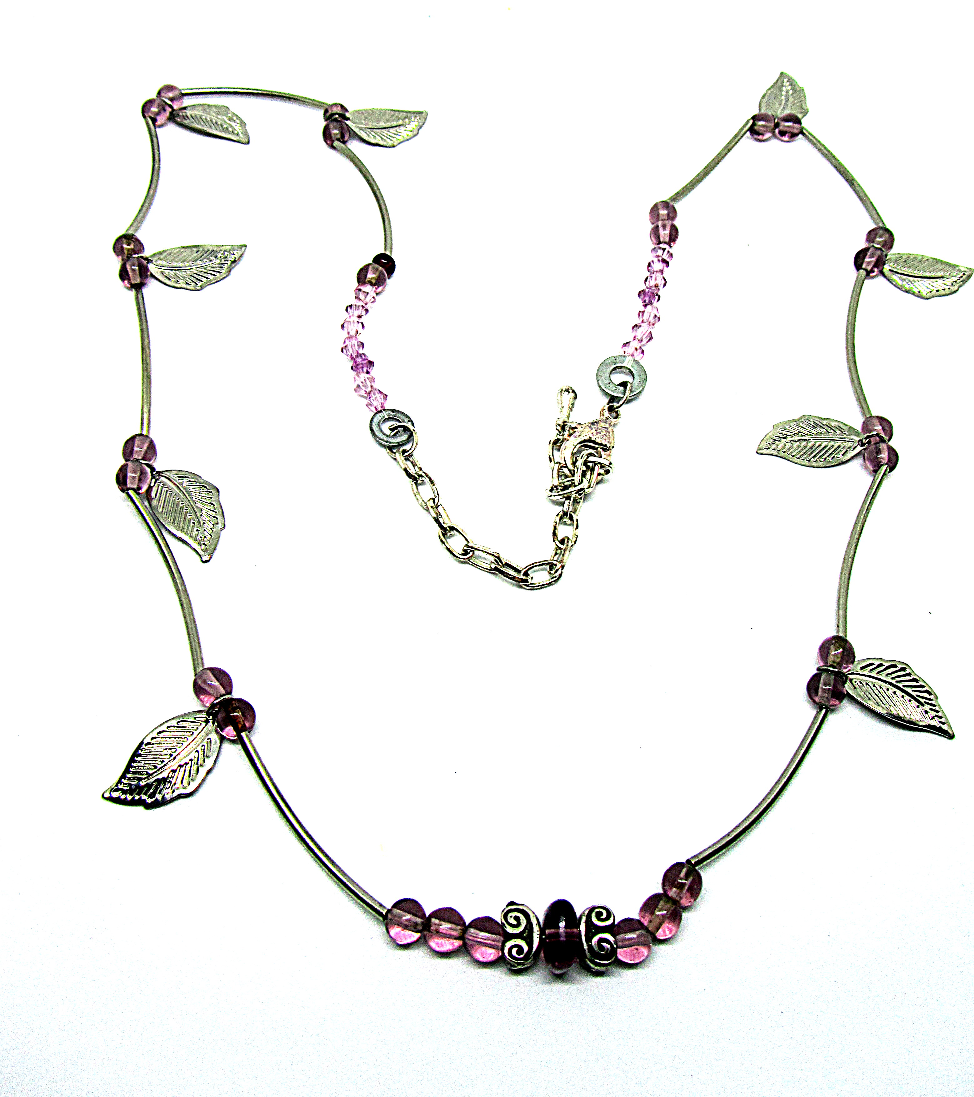 Necklace with colored glass