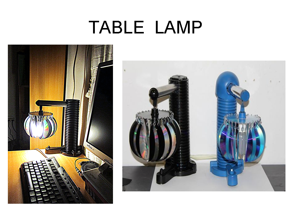 Table lamp from computer disks