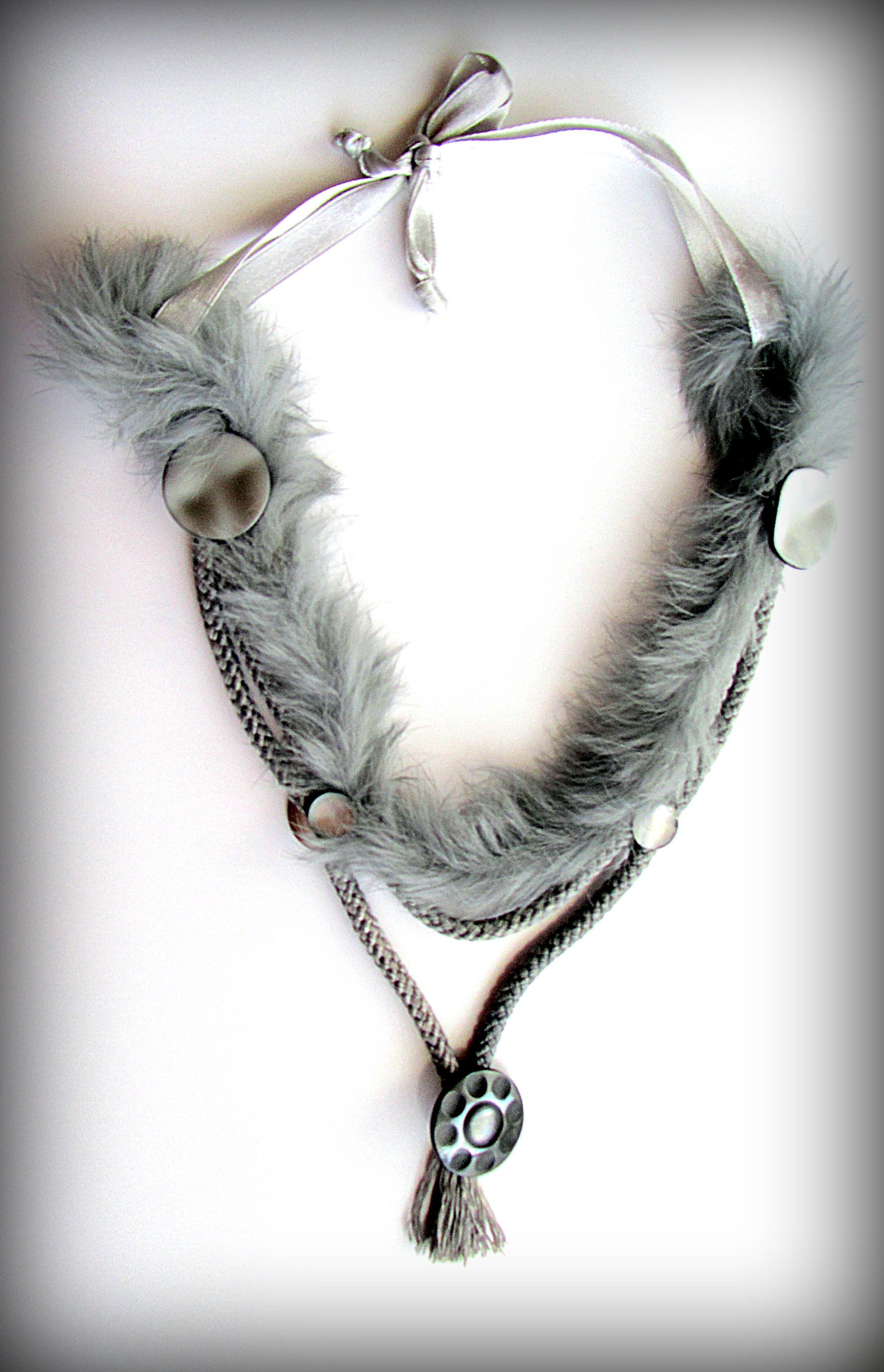 A gray necklace