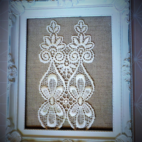 Wall decor: Doily in the form of appliqué from lace on a harsh cloth