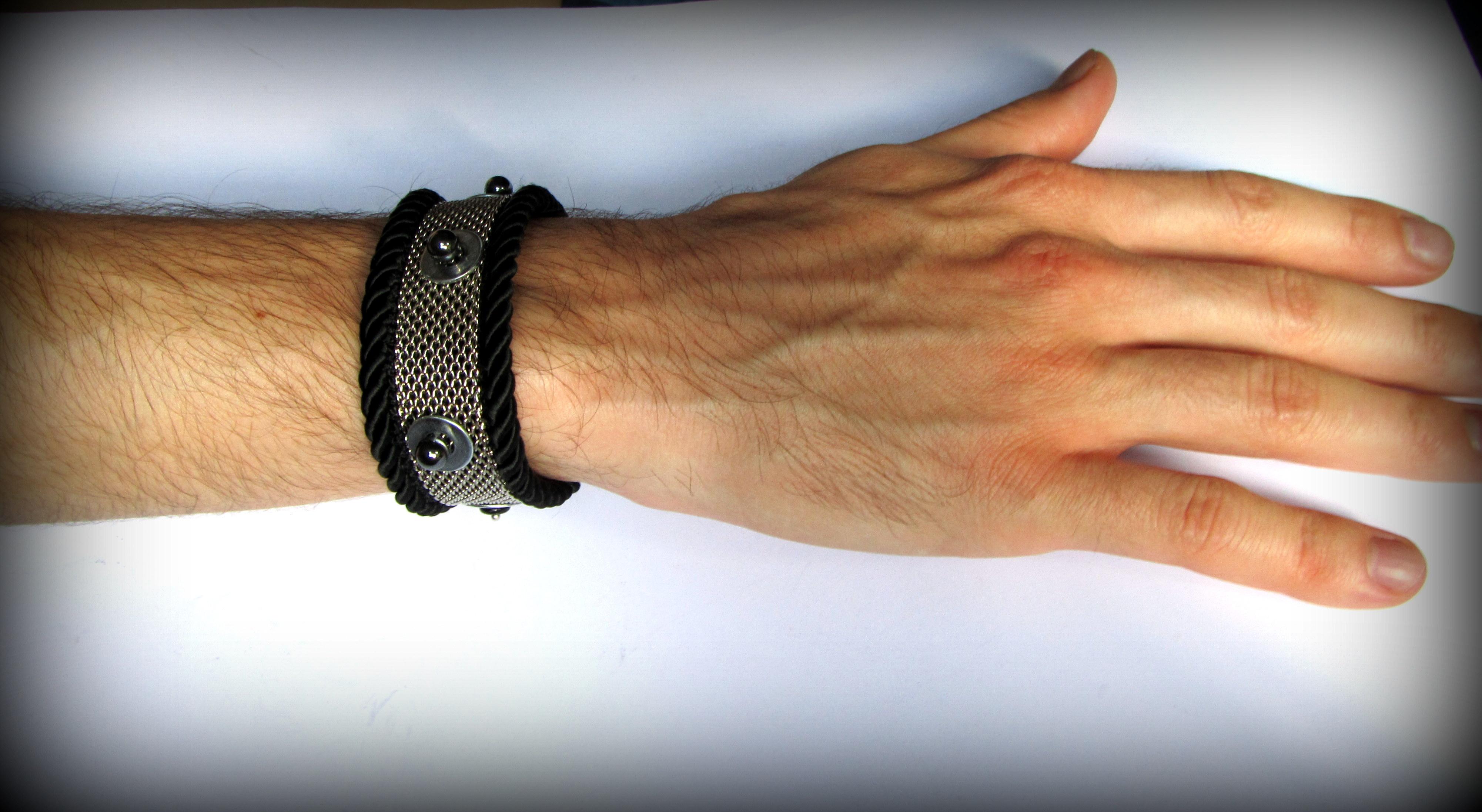 Black bracelet unisex with beads