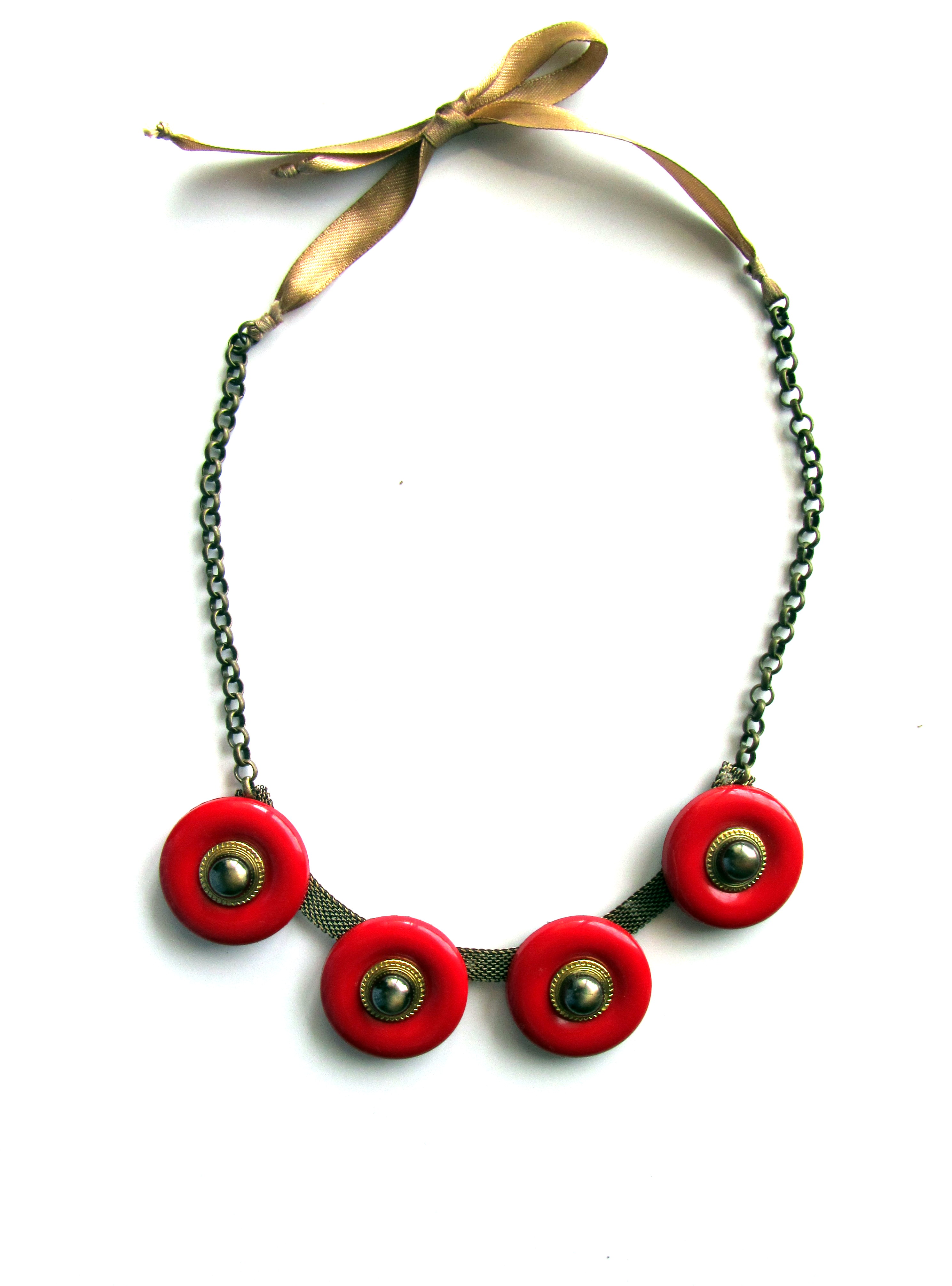 A bright red  plastic necklace