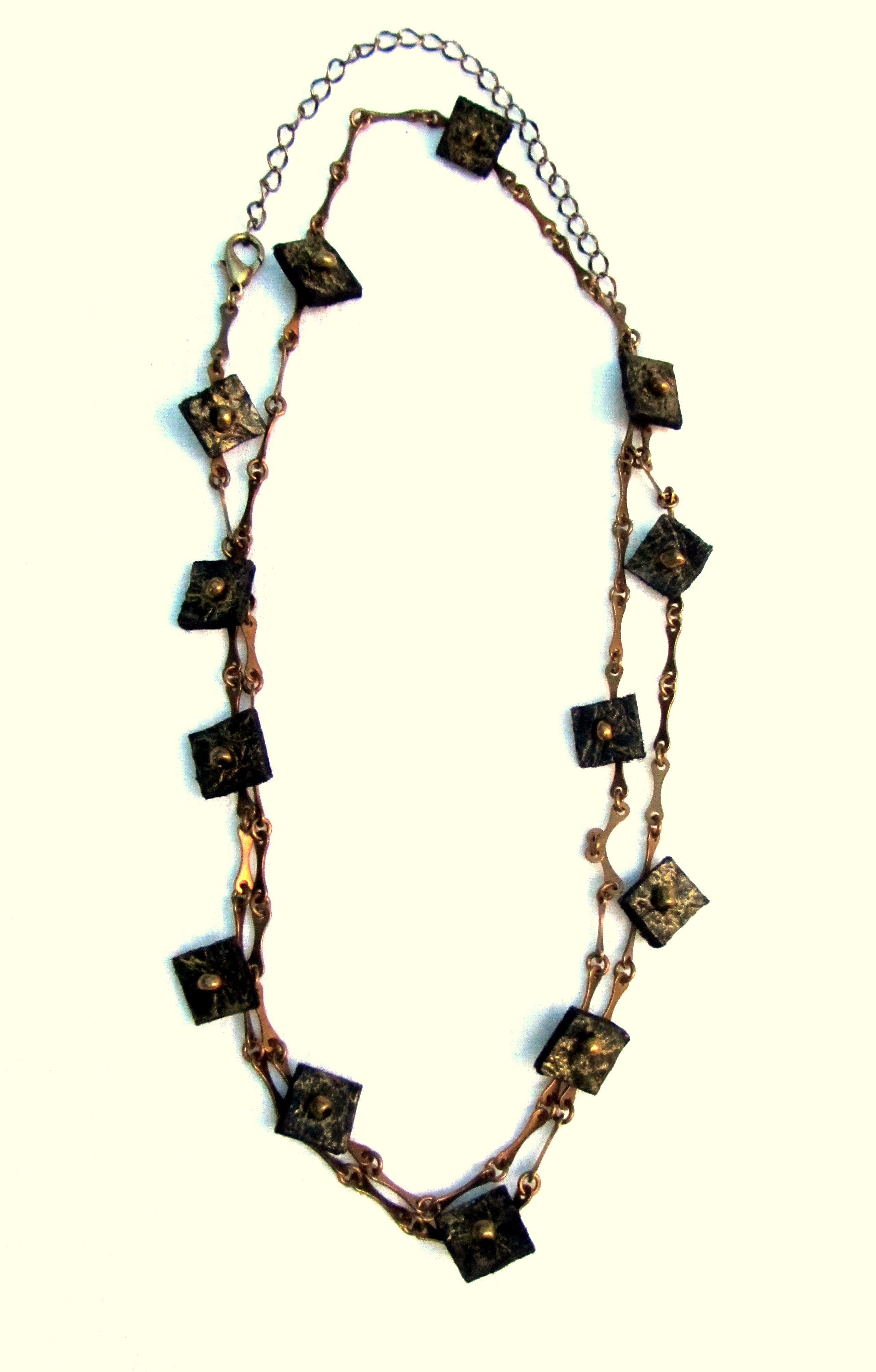 Necklace with leather squares