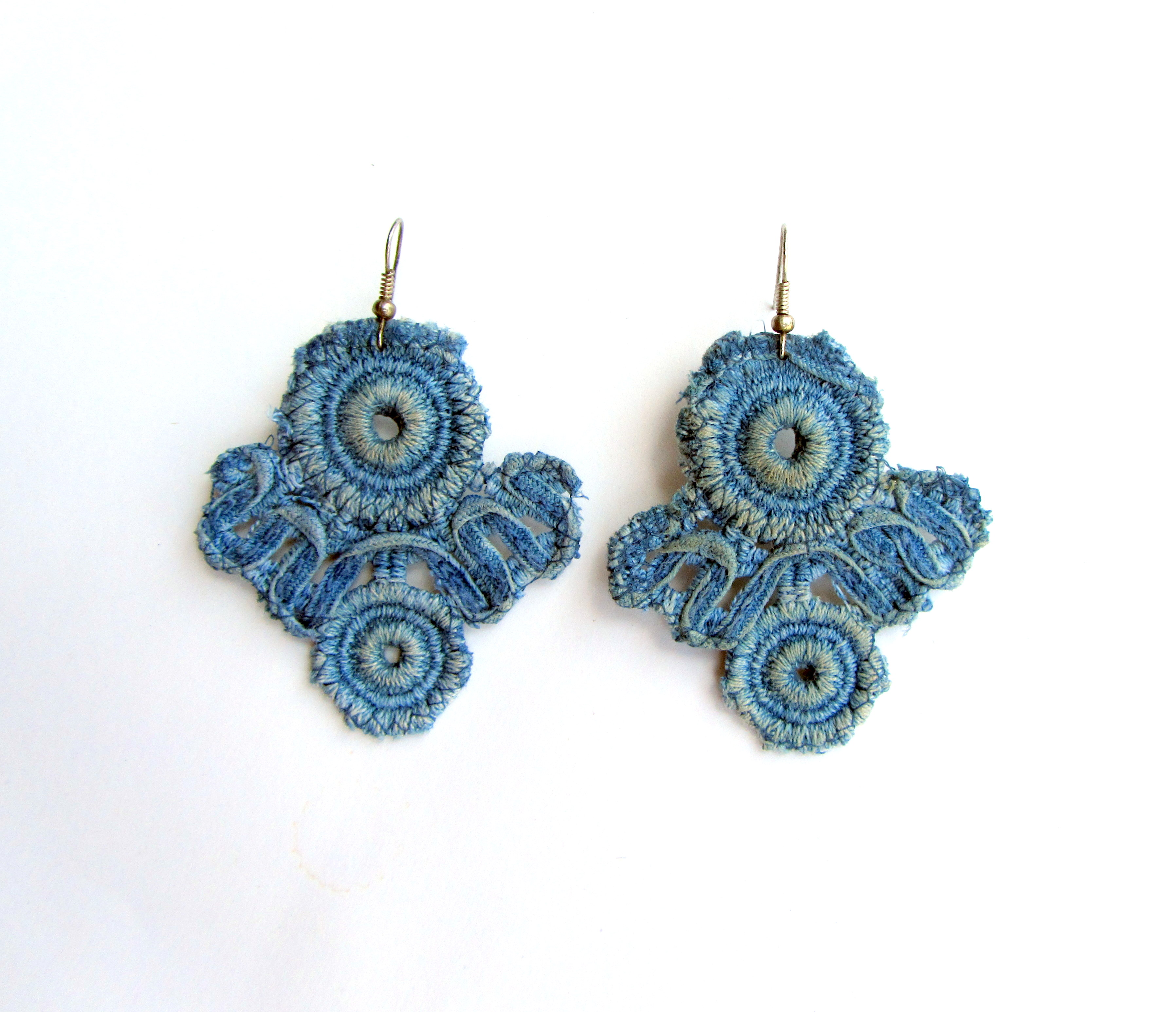 The lightest earrings lace denim