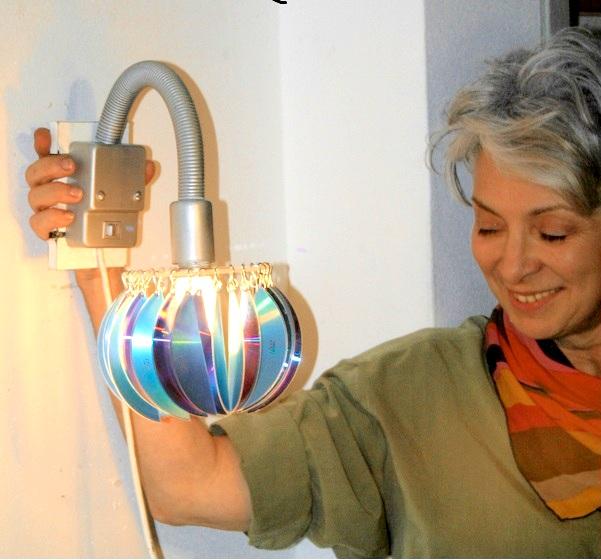 Wall lamp from computer disks